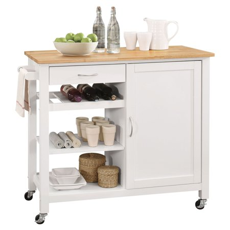 ACME Ottawa Kitchen Cart, Natural & White - Ottawa Halloween Costume Stores