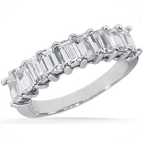 Platinum 9 Emerald Cut Diamond Wedding Ring Anniversary Band, 1 4 ct Each, VS, 2 1 4 tcw by