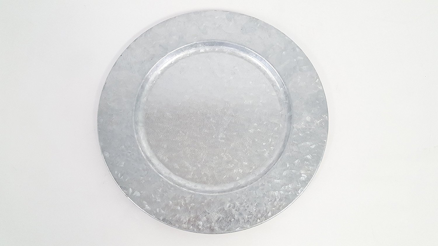 Galvanized Metal Charger Plate Boasting a silver galvanized metal construction with compressed speckles that shine  sc 1 st  Walmart.com & Galvanized Metal Charger Plate Boasting a silver galvanized metal ...