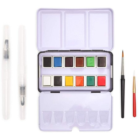 16 Piece Set Travel Size Watercolor Paint, Mini Water Color Kit for Art and Crafts Painting Artworks Design-making, Artists Students, 12 Colors
