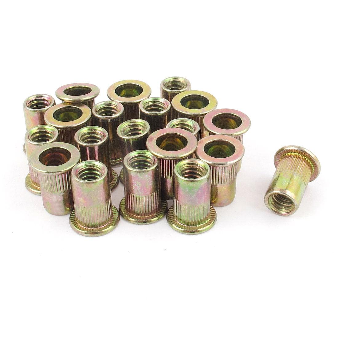Angelakerry 50pcs M4 Stainless Steel Rivnut Insert Nutsert Flat Head Rivet Nut Threaded Multi