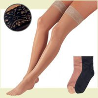 FLA Activa Sheer Therapy Hosiery, 15-20 mmHg Thigh Highs Lace Top - Size B - Nude