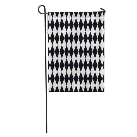 NUDECOR Diamond Black Pattern White Checks Geometric Clown Circus Garden Flag Decorative Flag House Banner 12x18 inch - image 1 de 2