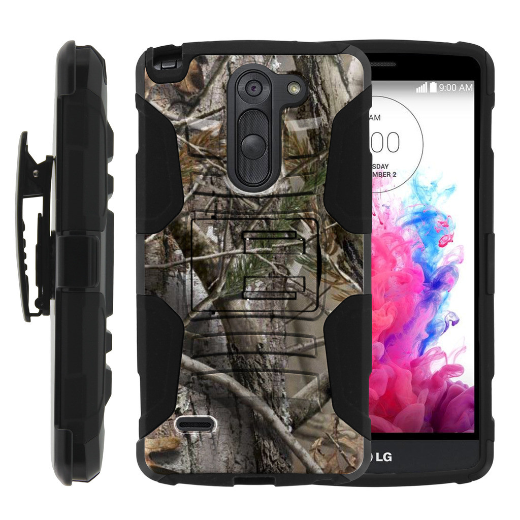LG G3 Stylus Case | LG D690 Case | G3 Stylus Holster Case [ Clip Armor ] Rugged Case with Kickstand + Holster - Tree Bark Hunter Camouflage