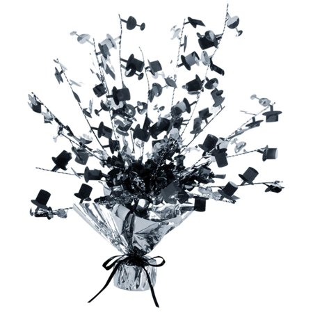 Club Pack of 12 Black and Silver Foil Spray Champagne Glass and Top Hat Gleam 'N Burst Centerpiece 15