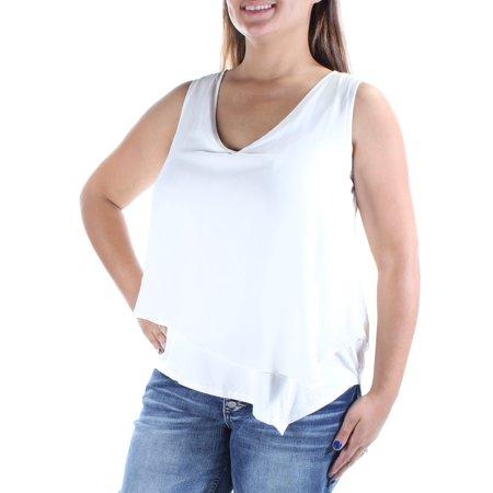 8c855b5b299 BAR III Womens Ivory Sleeveless V Neck Hi-Lo Top Size: 2XS
