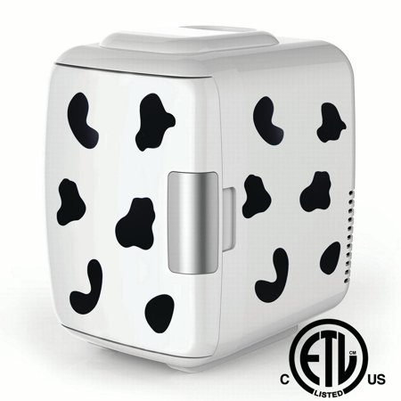 Cooluli Mini Fridge Electric Cooler and Warmer (4 Liter / 6 Can): AC/DC Portable Thermoelectric System w/ Exclusive On the Go USB Power Bank Option (Cow Print)