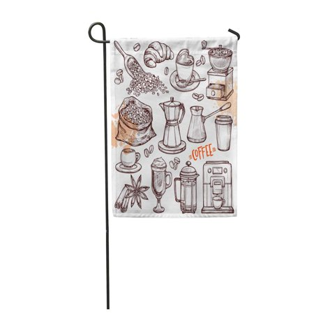 LADDKE Coffee Collection Sketch with Turk Cups with Beans Croissant Mill Maker Kettle L Garden Flag Decorative Flag House Banner 28x40 (Banner Maker)