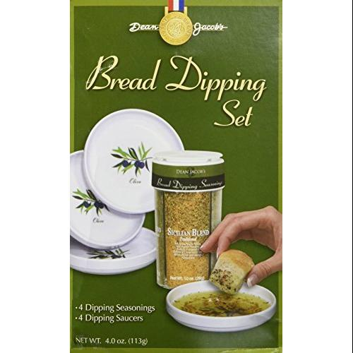 Gourmet Bread Dipping Set; Large Five Piece Set includes Four Melamine Dishes and a Full Ounce Each of Four Dipping Seas