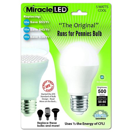 Miracle LED 605019 5-Watt Runs For Pennies Bulb, 60 Watt Replacement, Perfect A19 Household Replacement Light, Cool - Led Run