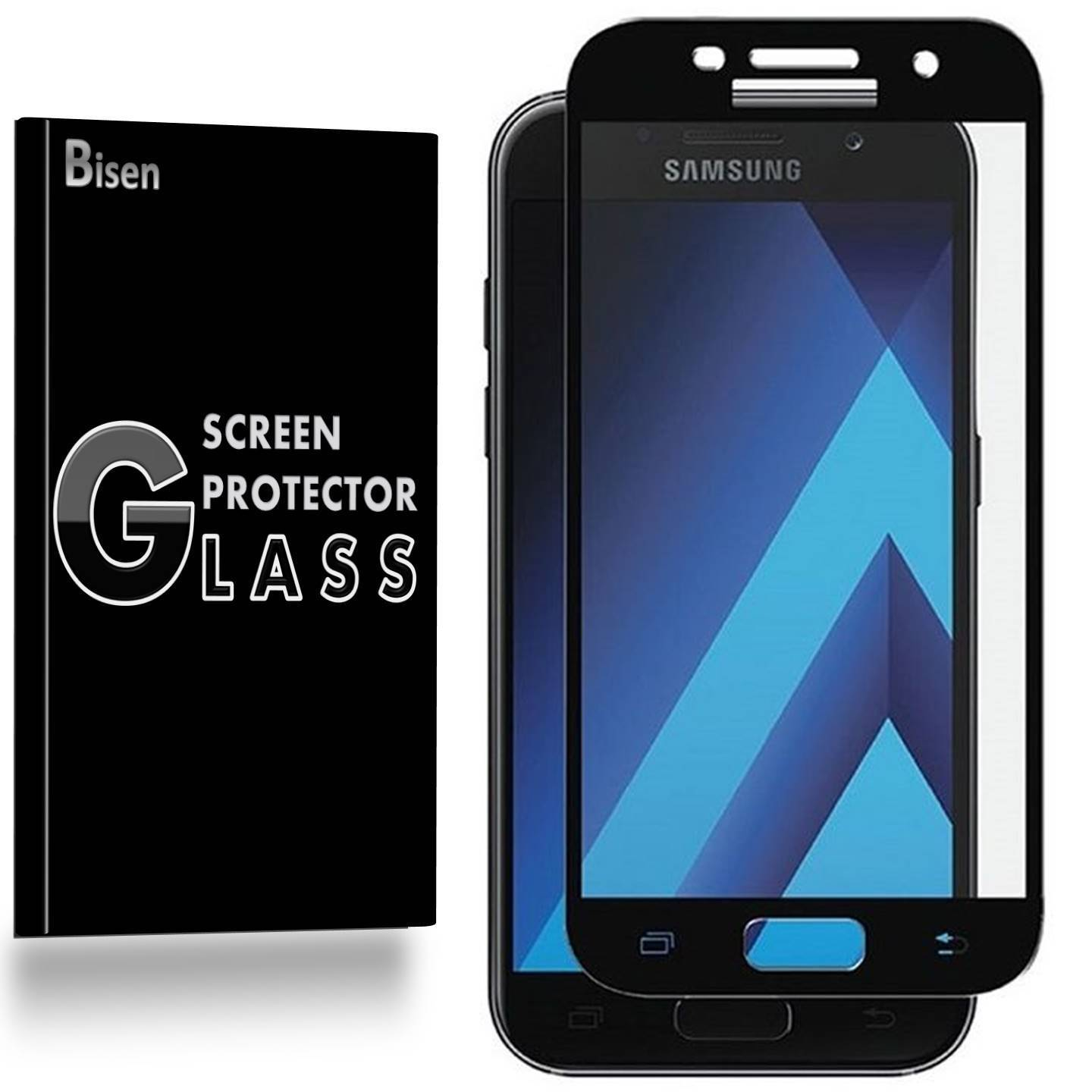 Samsung Galaxy J7 Sky Pro / Samsung Galaxy J7 (2017) [BISEN] Tempered Glass [Full Coverage] Screen Protector, Edge-To-Edge Protect, Anti-Scratch, Anti-Shock, Shatterproof, Bubble Free