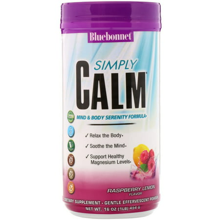 Bluebonnet Nutrition  Simply Calm Powder  Raspberry Lemon Flavor  16 oz  454 (Raspberry 16 Ounce Liquid)