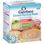 Gerber Baby Cereal Variety Pack, 0.53 oz Packets (Pack of 8)