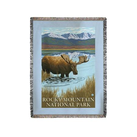 Rocky Mountain National Park  Colorado   Moose Drinking   Lantern Press Artwork  60X80 Woven Chenille Yarn Blanket