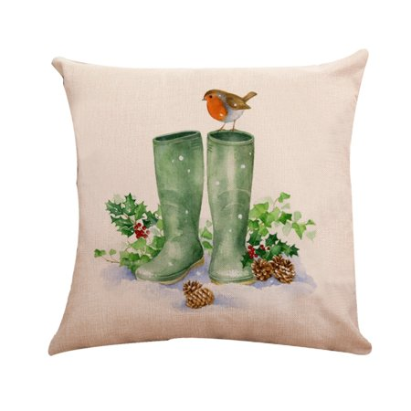 Xmas Cotton Pillow Case Linen Cushion Cover Merry Christmas Home Decoration ()