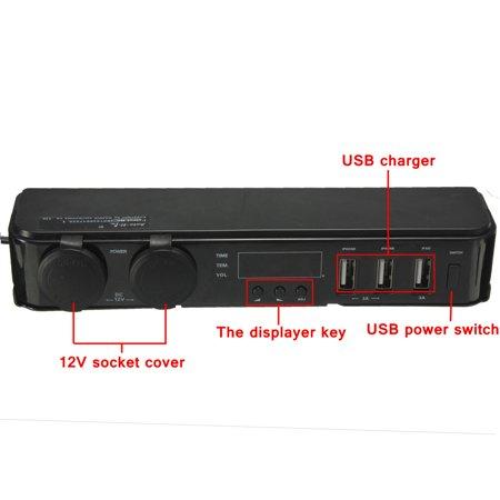 3 In1 12/24V Car Cigarette Lighter w/ 3 USB Charger LED Volt Clock Temperature - image 6 de 9