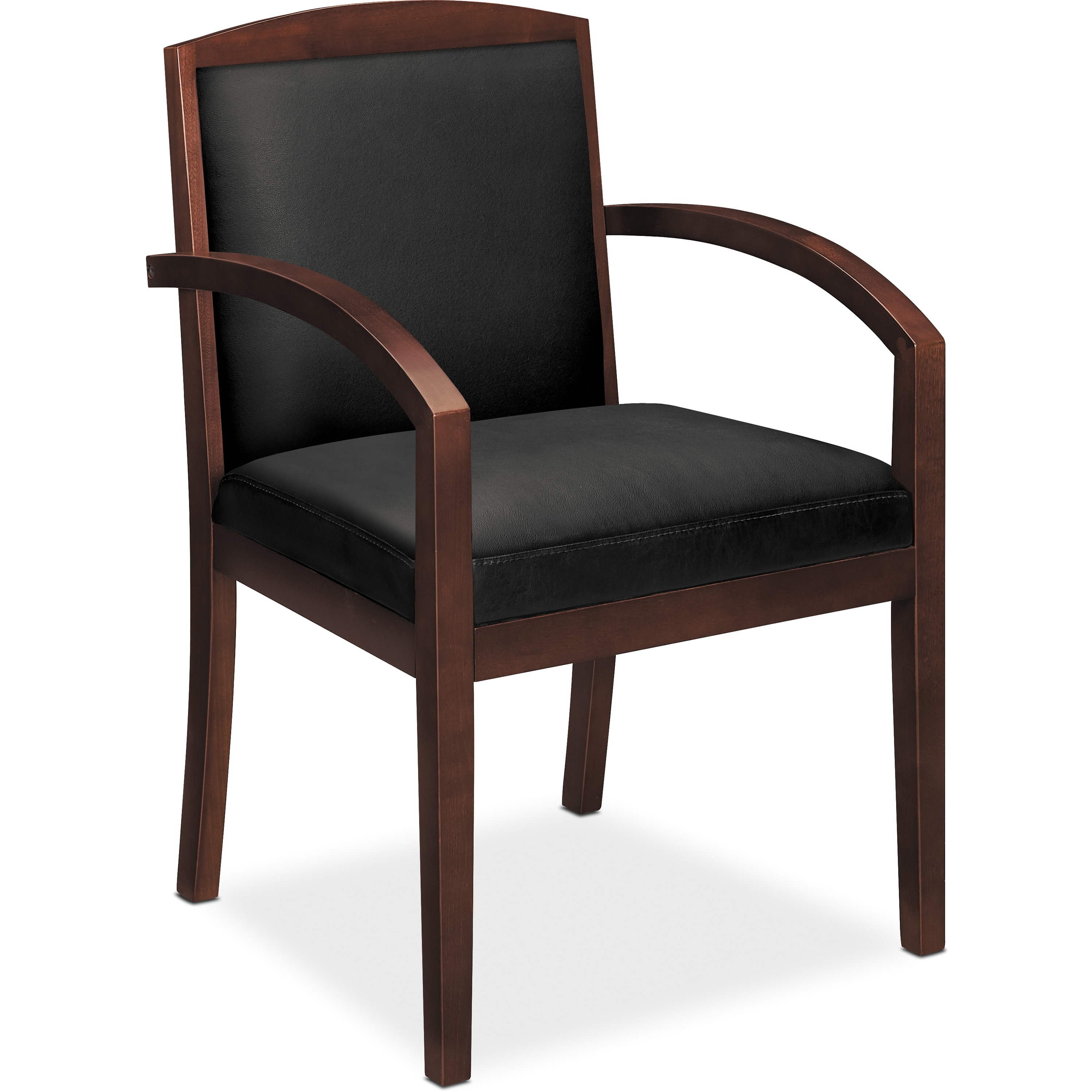 basyx VL850 Series Wood Guest Reception Waiting Room Chair, Black Leather Upholstery w/Mahogany Veneer
