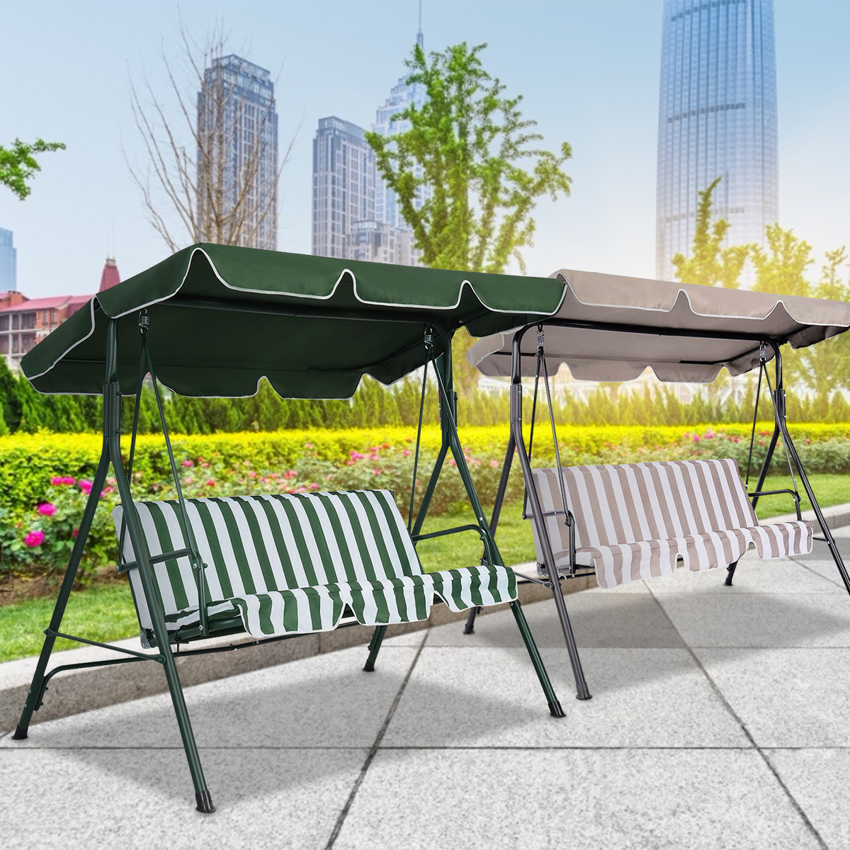 """Outdoor Swing Top Cover Canopy Replacement Porch Patio 66/""""x45/"""" 75/""""x52/"""" 77/""""x43/"""""""