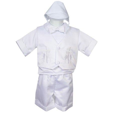 Rafael Collection Baby Boys 4 pc Cross Grapevine Vest Hat Baptism (Raquel Collection)