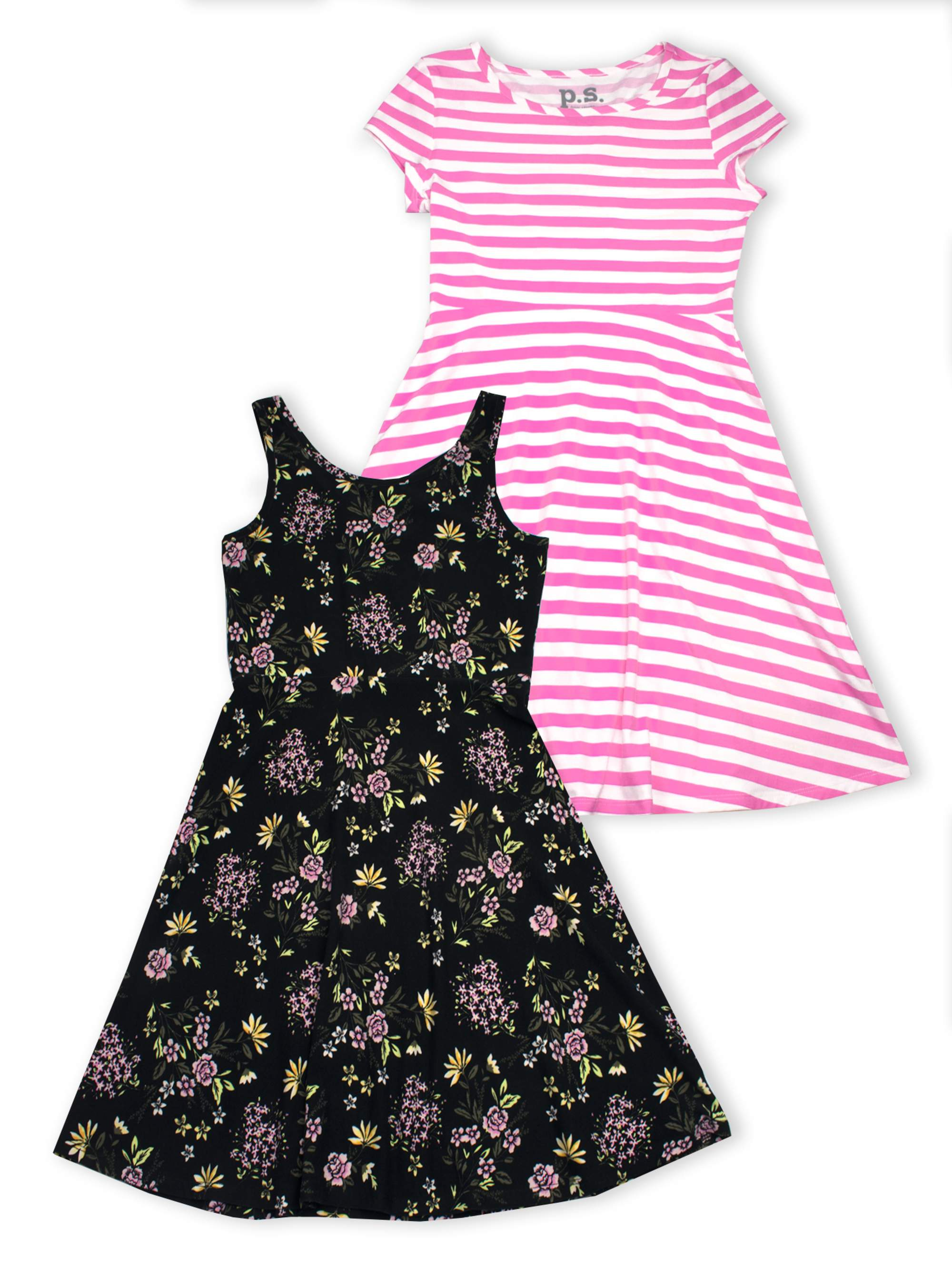 Tropical Floral and Stripe Dresses, 2-Pack (Little Girls & Big Girls)