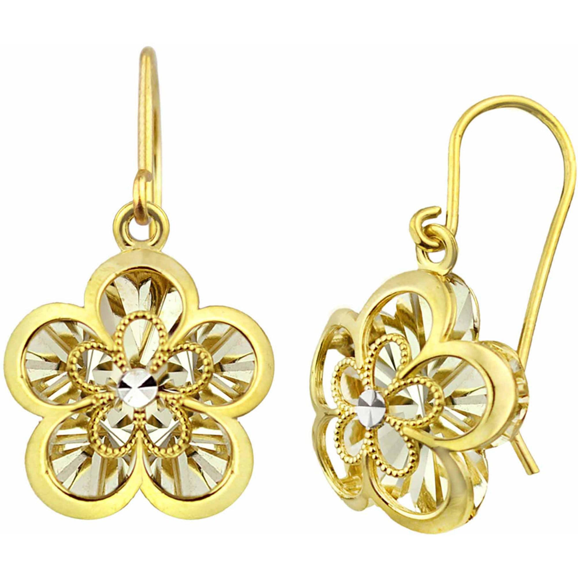 US GOLD 10kt Gold Two-Tone Diamond-Cut Open Flower Drop Earrings