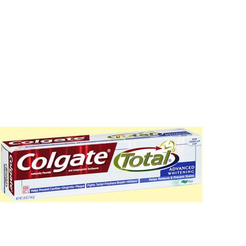 Colgate Total Advanced Clean Plus Whitening Gel Anticavity Fluoride and Antigingivitis Toothpaste 5.8 oz (Pack of 2)
