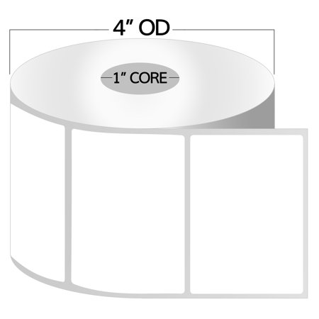 "OfficeSmartLabels 4"" x 2.5"" Direct Thermal Labels, Zebra Compatible Labels (20 Rolls, 620 Labels Per Roll, 1 inch Core, White, 4"" Diameter, Perforated)"