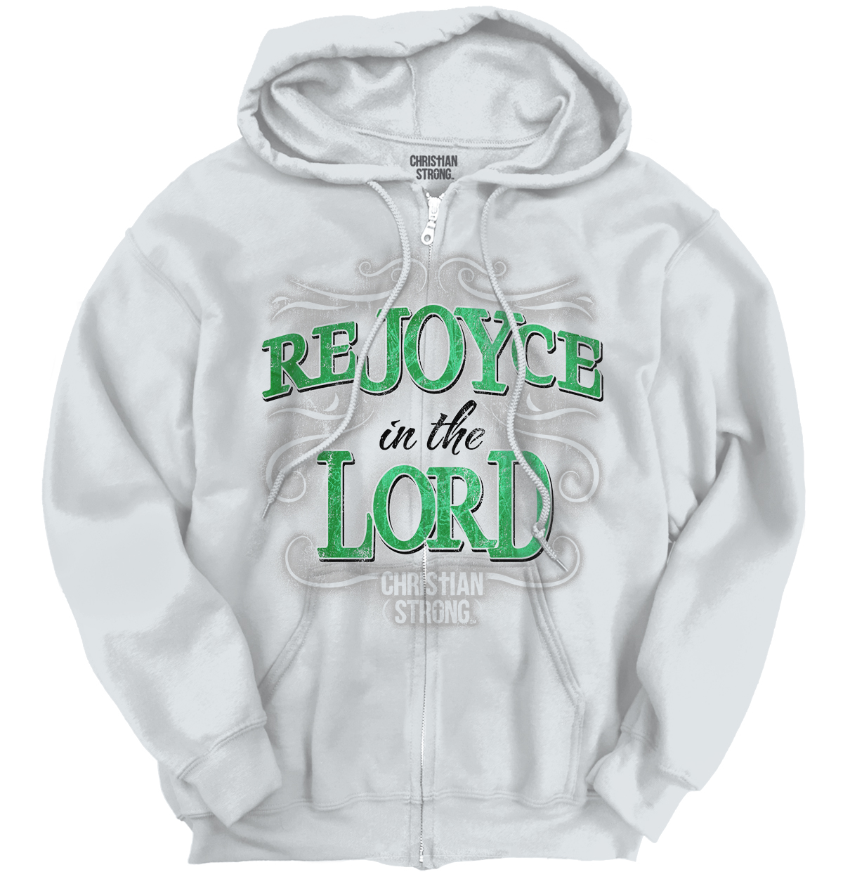 Christian Religious Zipper Hoodie ReJOYce In The Lord Christ by Christian Strong