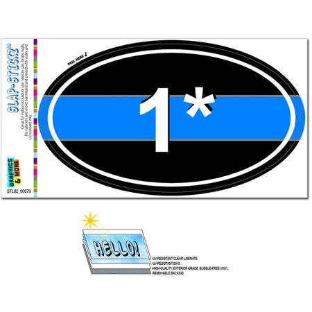 Thin Blue Line 1 One Asterisk Police Euro Oval Automotive Car Window Locker Bumper