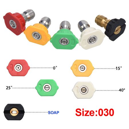 5X High Pressure Washer Spray Nozzle Tips Variety Degrees 1/4