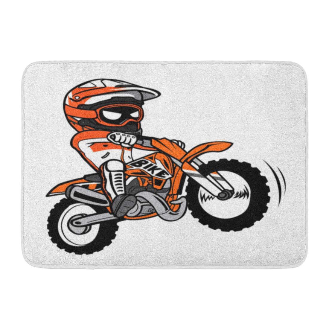 Yusdecor Bike Motocross Splashing Biker Motorcycle Rider Dirt Cartoon Rug Doormat Bath Mat 23 6x15 7 Inch Walmart Canada