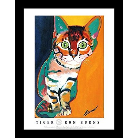 Buyartforless Framed Tiger By Ron Burns 24X18 Art Print Poster Cat Kitten Cute Colorful