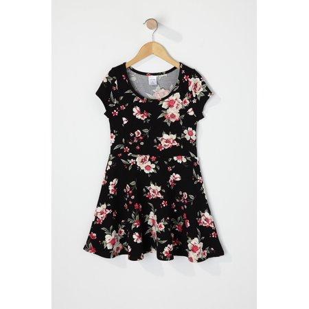 Urban Kids Toddler Girl Crepe Floral Short Sleeve Flare Dress - image 2 de 2