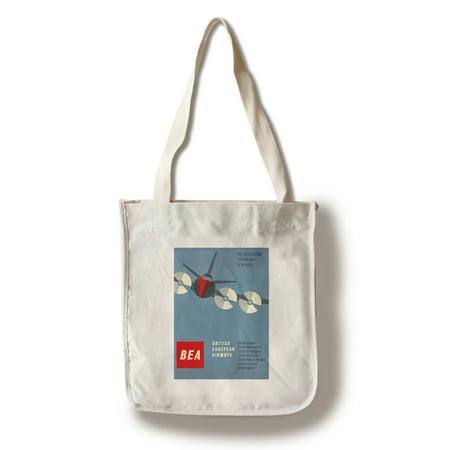 British European Airways Vintage Poster (artist: Muller-Brockmann) Switzerland c. 1956 (100% Cotton Tote Bag - Reusable)