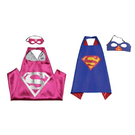 Superman & Supergirl Costumes - 2 Capes, 2 Masks with Gift Box by Superheroes - Superman Costumes