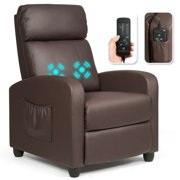 Gymax Massage Recliner Chair Single Sofa PU Leather Padded Seat w/ Footrest