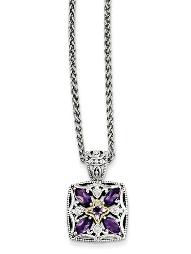 SS 14k Yellow Gold Diamond & Amethyst Vintage Style Necklace 0.04ct by Jewelrypot