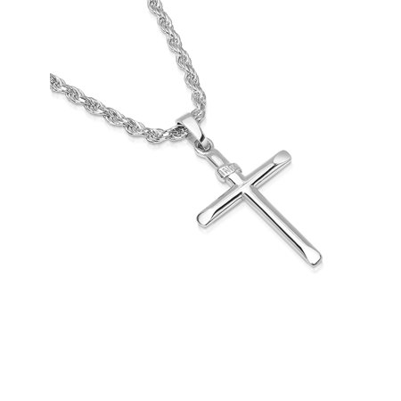 Mens Sterling Silver Cross Pendant INRI Rope Chain Necklace Italian Made - 050 - 16