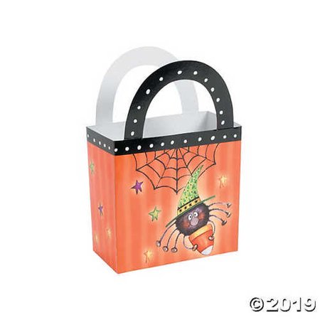 12 Halloween Paper Candy Corn Spider Treat Boxes/Party Supplies/Trick or Treat/Goody Boxes