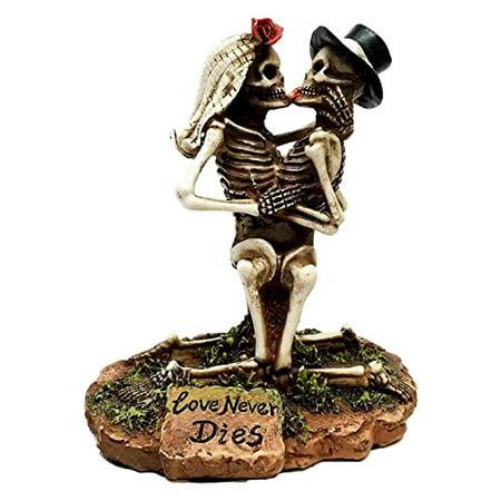 Wedding Skulls Love Never Dies French Kissing Couple Skeletons Figurine