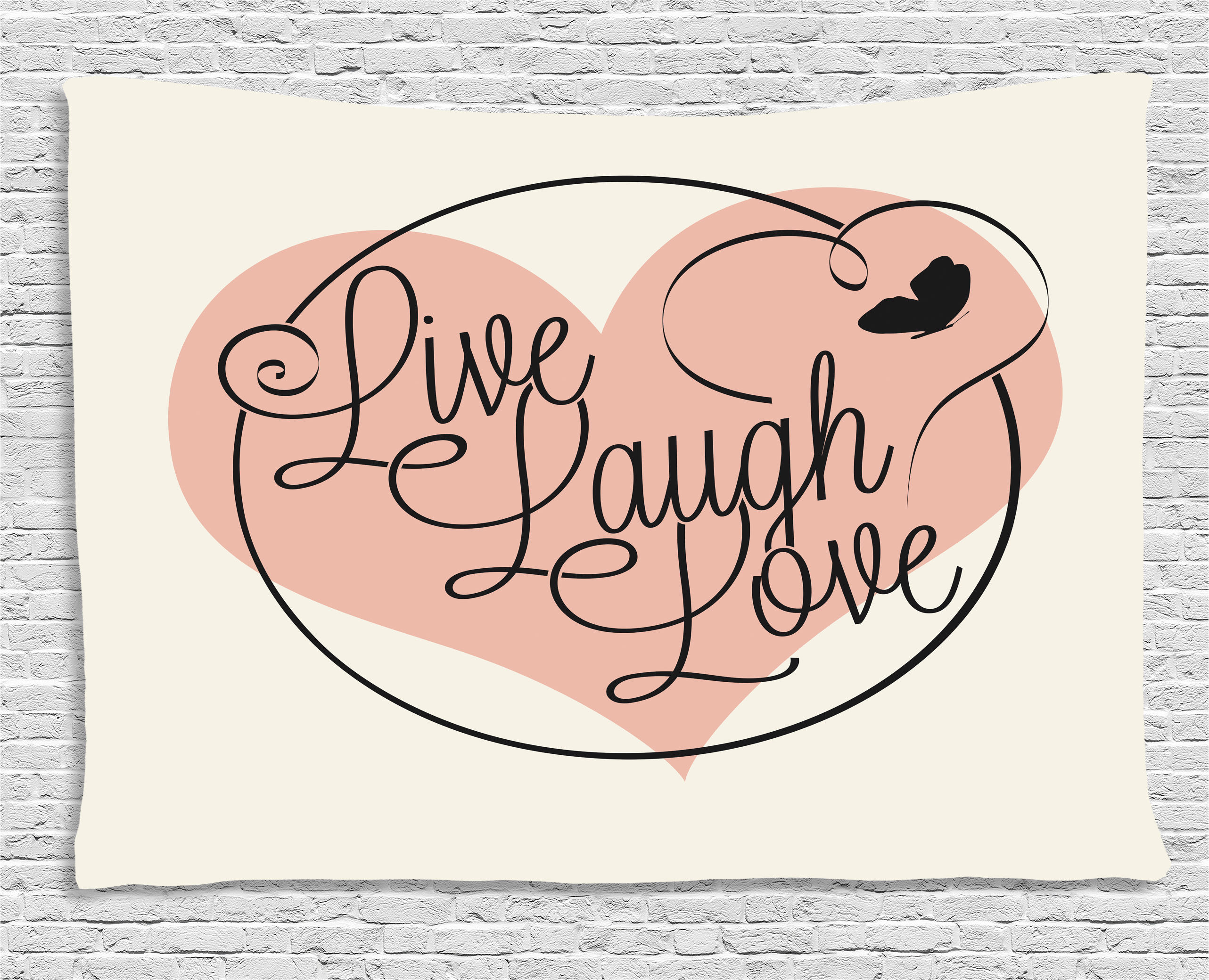 Live Laugh Love Decor Tapestry, Romance Valentines Theme Calligraphy Art  Heart Butterfly, Wall Hanging