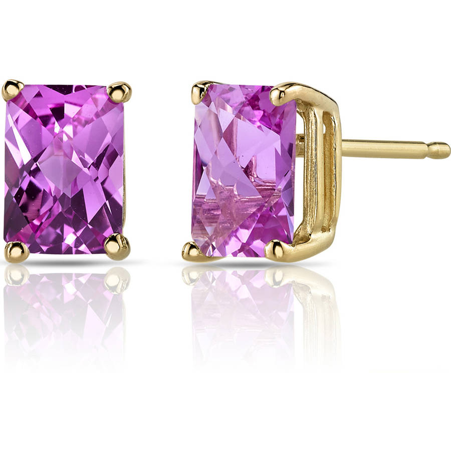 Oravo 2.50 Carat T.G.W. Radiant-Cut Created Pink Sapphire 14kt Yellow Gold Stud Earrings