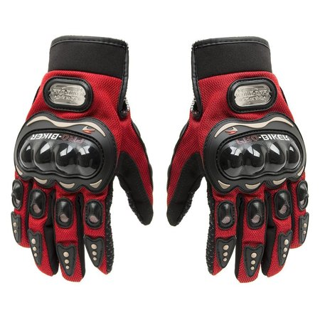 Tcbunny Pro-biker Motorcycle Carbon Fiber Powersports Racing Gloves (Red, Large) ()