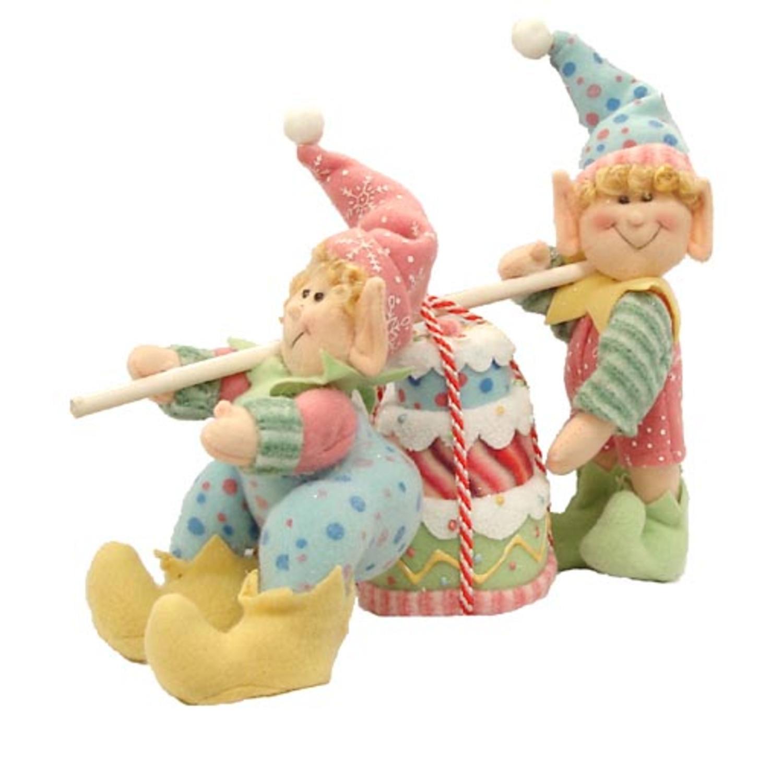 "8.5"" Glittery Pastel Plush Christmas Elves Carrying Cake"