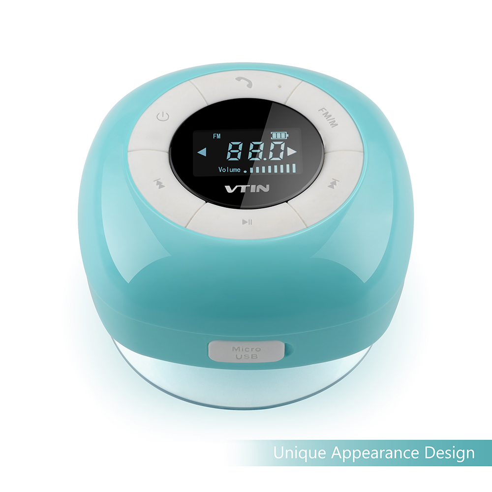 Vtin Relaxer Mini Water Resistant Portable Wireless Bluetooth 4.0 FM Radio Shower Speaker with LCD Display, Built in Mic and Suction Cup-Blue