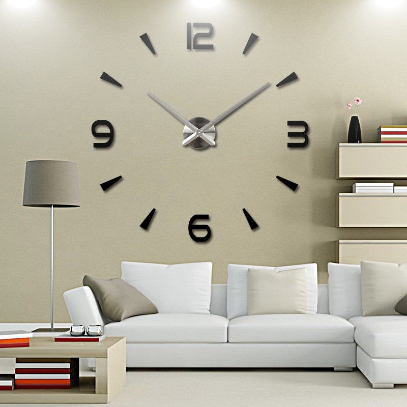 modern large 3d mirror surface wall clock sticker home office room
