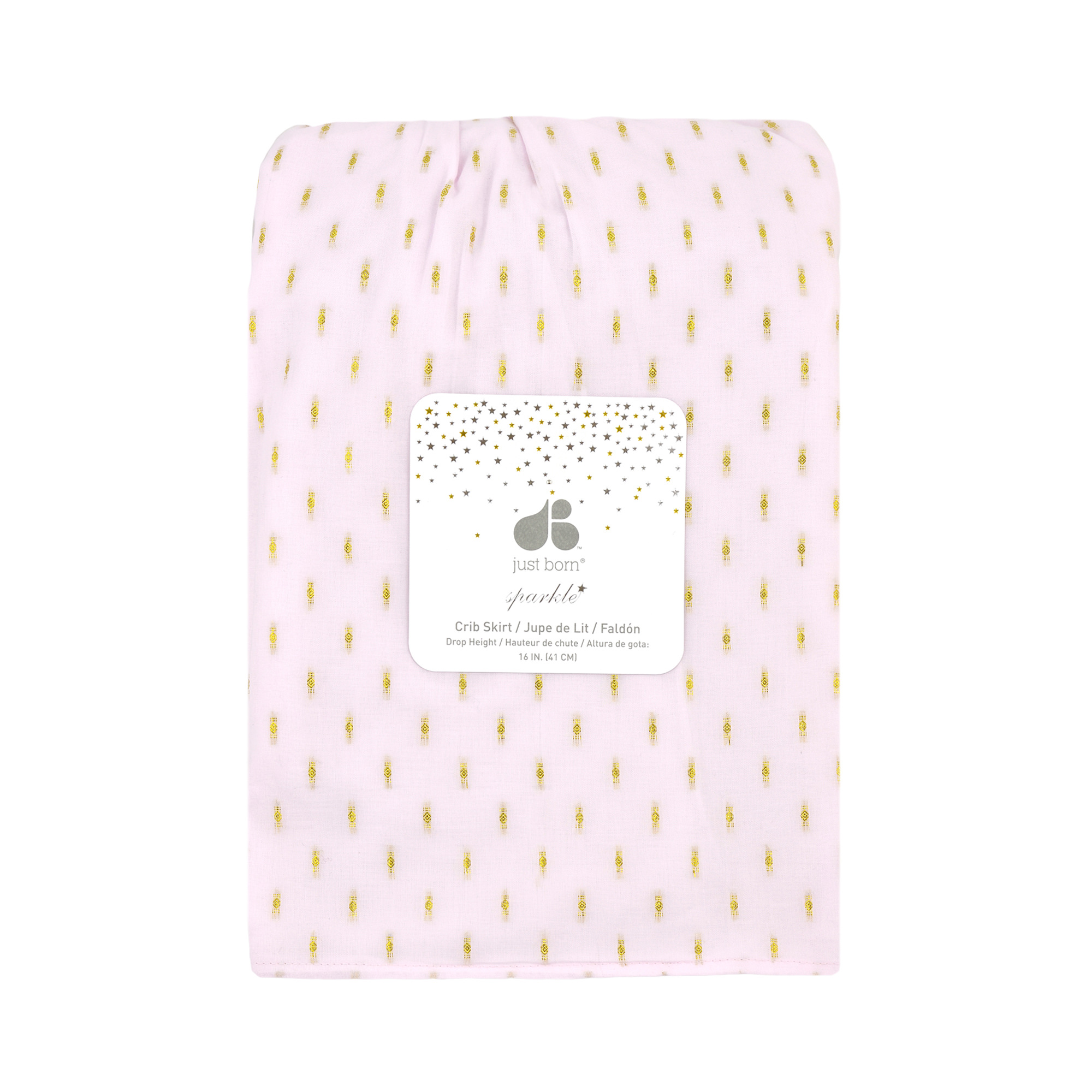 Just Born® Sparkle Pink Crib Skirt