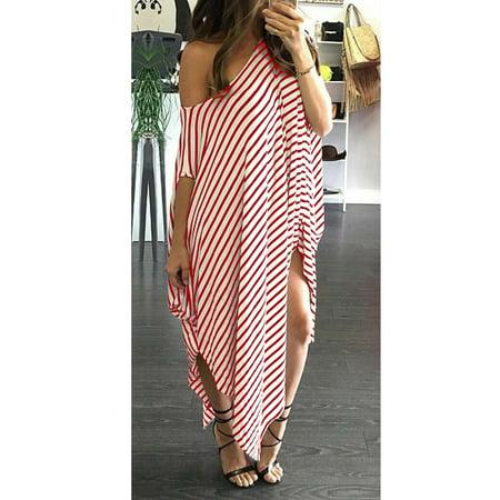 New Women Loose Long Dress Striped Batwing Sleeve Off-shoulder Split Asymmetric Casual Maxi Plus Size - Buy Slipknot Jumpsuit
