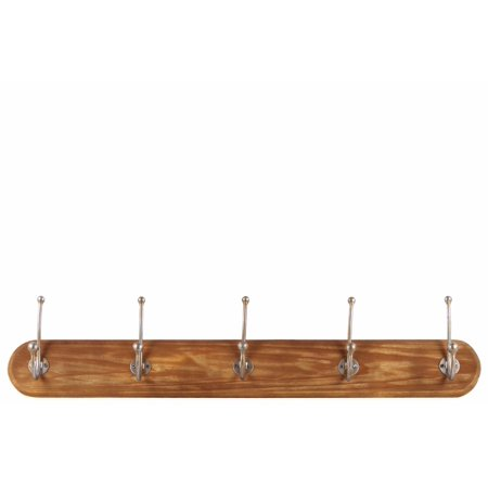 HomeRoots Hanger with 5 Metal Double Hooks Natural Wood Finish Brown - Large - Benzara