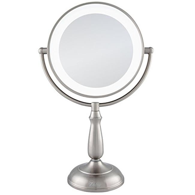 zadro mirrors. zadro ledvprt412 satin nickel - dual sided led lighted dimmable touch vanity mirror, 12x \u0026 1x mirrors d